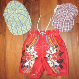 Old Navy 12-18M swim trunks with two 12M hats